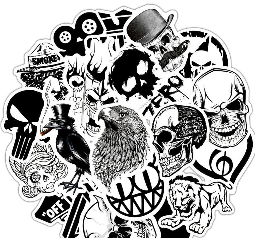 50pcs/set Cool Black White Rock Music Band Stickers Retro Sticker DIY Skateboard Luggage Laptop Car