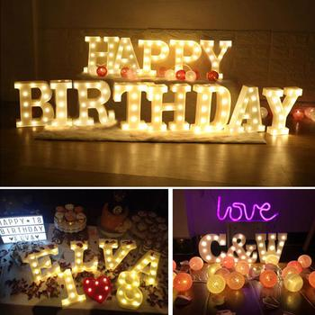 Alphabet 26-Letter 0-9 Number LED Sign Wall Hanging Night Light Party Bar Decor Romantic Alphabet/Number/Heart Design image