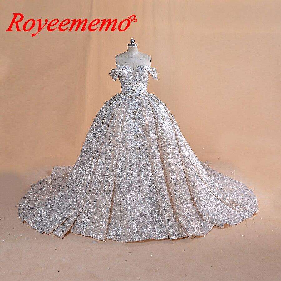 2020 nouvelle conception de luxe robe de bal train Royal robe de mariée spéciale pleine perles robe de mariée fabriqué en usine robe de mariée en gros
