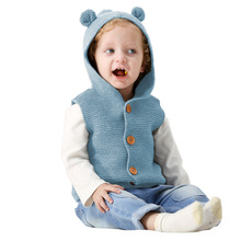 New Arrived Spring Autumn Toddler Baby Boys Sweater Vest Cute Hooded Knitted Pullover Sleeveless Coat