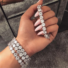Choucong Luxury Tennis bracelet blanco Silver Bijou 8mm AAAAA Zircon moda fiesta boda pulseras para Mujeres Hombres Hiphop Jewerly(China)