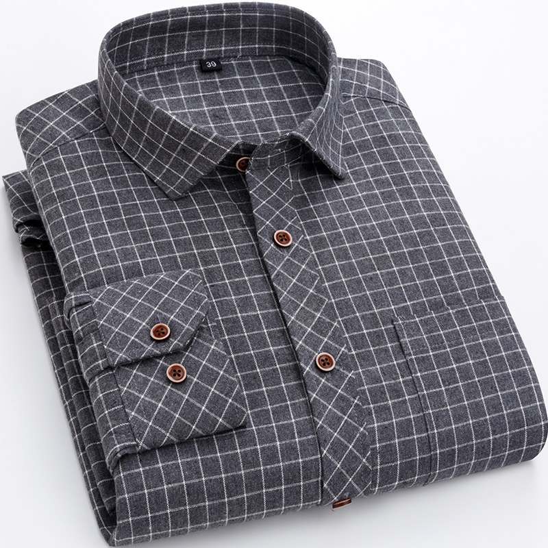 New Plaid and Striped men's long sleeve casual shirts Men's Polo Shirts