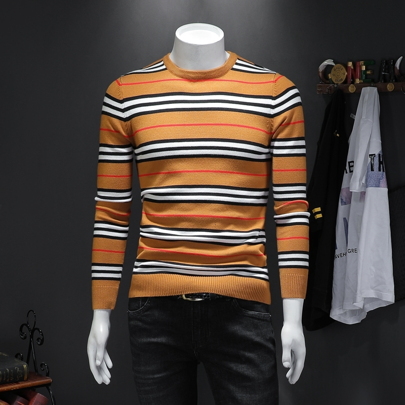 UYUK2019 Autumn/winter New Long-sleeved Pullover With Round Collar Stripe Contrast Color Slim Men Sweater Clothes Hombre Cotton