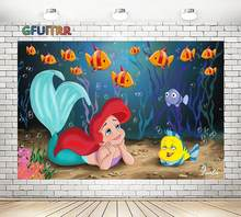 GFUITRR Mermaid Princess Photography Backdrop Girl Birthday Background Underwater Fish Polyester Vinyl Photo Booth studio Props(China)