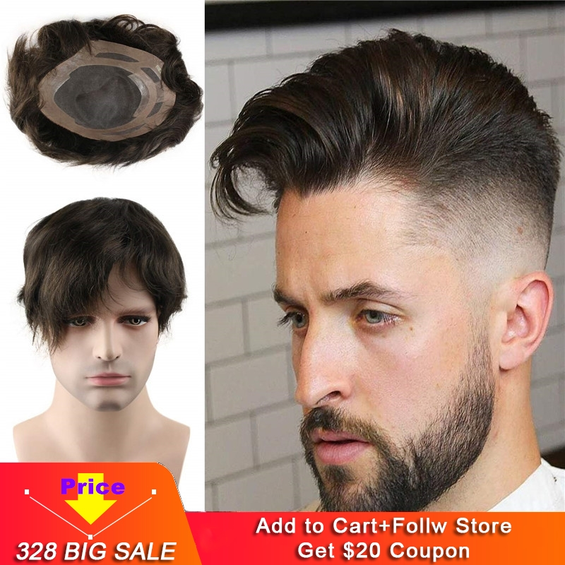 Swiss Mono Lace With Soft Thin Skin Toupee For Men With 10