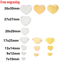 MYLONGINGCHARM 30pcs Custom for you Engravable Heart beads  Heart Charms for Bracelet Heart Necklace Pendant steel gold color