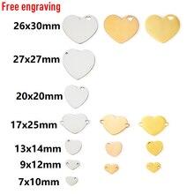 MYLONGINGCHARM 30pcs ที่กำหนดเองสำหรับ Engravable Heart ลูกปัดหัวใจ Charms สำหรับสร้อยข้อมือสร้อยคอหัวใจจี้เหล็กสี