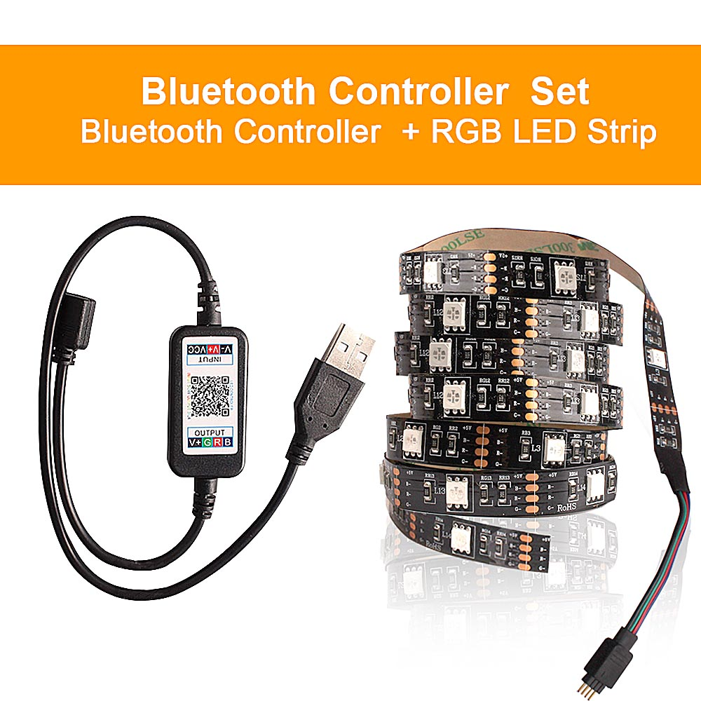 H5d8d9dd56ce74cdea9b131796859870ar RGB Tape Bluetooth USB LED Strip TV Background Flexible Neon Ribbon tira Lamp 5V 0.5M SMD 5050 RF Controller LED RGB Strip Light