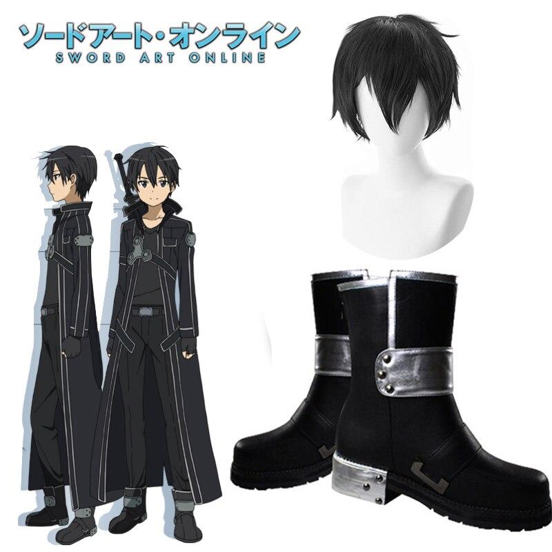 Japanese Anime Sword Art Online Cosplay Boots Kirigaya Kazuto Cosplay Shoes Boots SAO Men's Kirigaya Kazuto Kirito Cosplay Hair