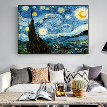 Impressionist Van Gogh Starry Night Oil Paintings Print Canvas Starry Night Decorative Pictures For living Room Cuadros Decor 50mm van gogh art paintings refrigerator stickers starry night sunflowers fridge magnet landscape glass crystal cabochon decor