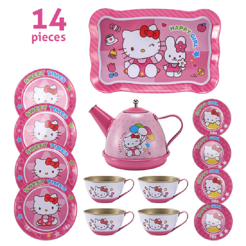 Cartoon Pattern Metal Simulated Teapot Teacup Set Afternoon Tea Tinplate Toys Pretend Play Toys For Girls Kid Toys