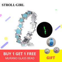 StrollGilr 925 Sterling Silver Stars Fluorescent Rings Blue Star Luminous Engagement rings Fashion Jewelry Women Free shipping