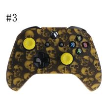 Skull Pattern Silicone Gamepad Cover+2 Joystick Caps For XBox One X S Controller X6HB plastic silicone joystick caps w anti slip covers for xbox one controller white 2 set