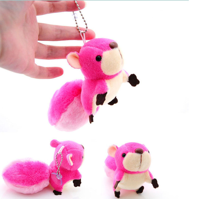 Cute Mini Squirrel Plush Toy Stuffed Doll Pendant Decorations Oversized Tail Squirrel Ornament Keychain Toys For GirlFriend Gift