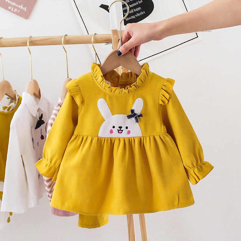 فستان بناتي للأطفال الرضع للربيع وصل حديثًا فستان عيد ميلاد بأكمام طويلة مزين برسوم كارتونية ملابس حديثي الولادة من القطن فستان أطفال جميل 3 متر-2 T