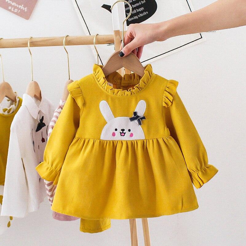 Meninas do bebê criança vestido infantil primavera nova chegada dos desenhos animados manga longa vestido de aniversário algodão roupas recém-nascidas adorável bebê vestido 3m-2t