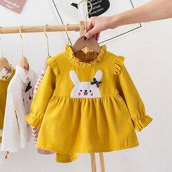 Платье для маленьких девочек новое поступление, весеннее платье с длинными рукавами и рисунком для дня рождения хлопковая одежда для новор...