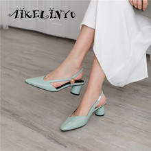 цены AIKELINYU 2019 Genuine Leather Sandals Summer Green Square Head Handmade Round Heels Shoes Woman High Quality Party Lady Pumps
