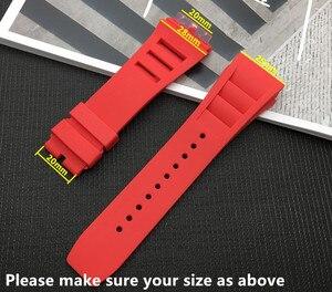 Image 2 - למעלה איכות מיובא טבע רך סיליקון גומי שחור רצועת השעון שעון להקת עבור mille רצועת עבור RM רצועת 011 עבור ריצ רד רצועה