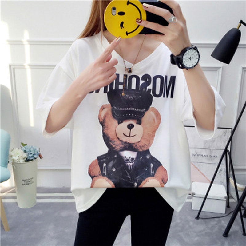 Fashion Women's T shirt Women's Summer New Wild Printed Moschino V neck Basic Street Hip Hop Mid Sleeve Black Top strenger ting|T-Shirts| - AliExpress