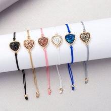 6 Colors Triangle Resin Druzy Stone bracelets & bangles Adjustable Rope Bracelets fashion Jewelry for Women 2019