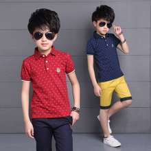 цена на Baby Big Boys Kids Polo Shirt Tops 2020 Fashion Dots Boy Summer Clothing Set T Shirt+Pants Children Boys Clothes Sets 3-15 yrs