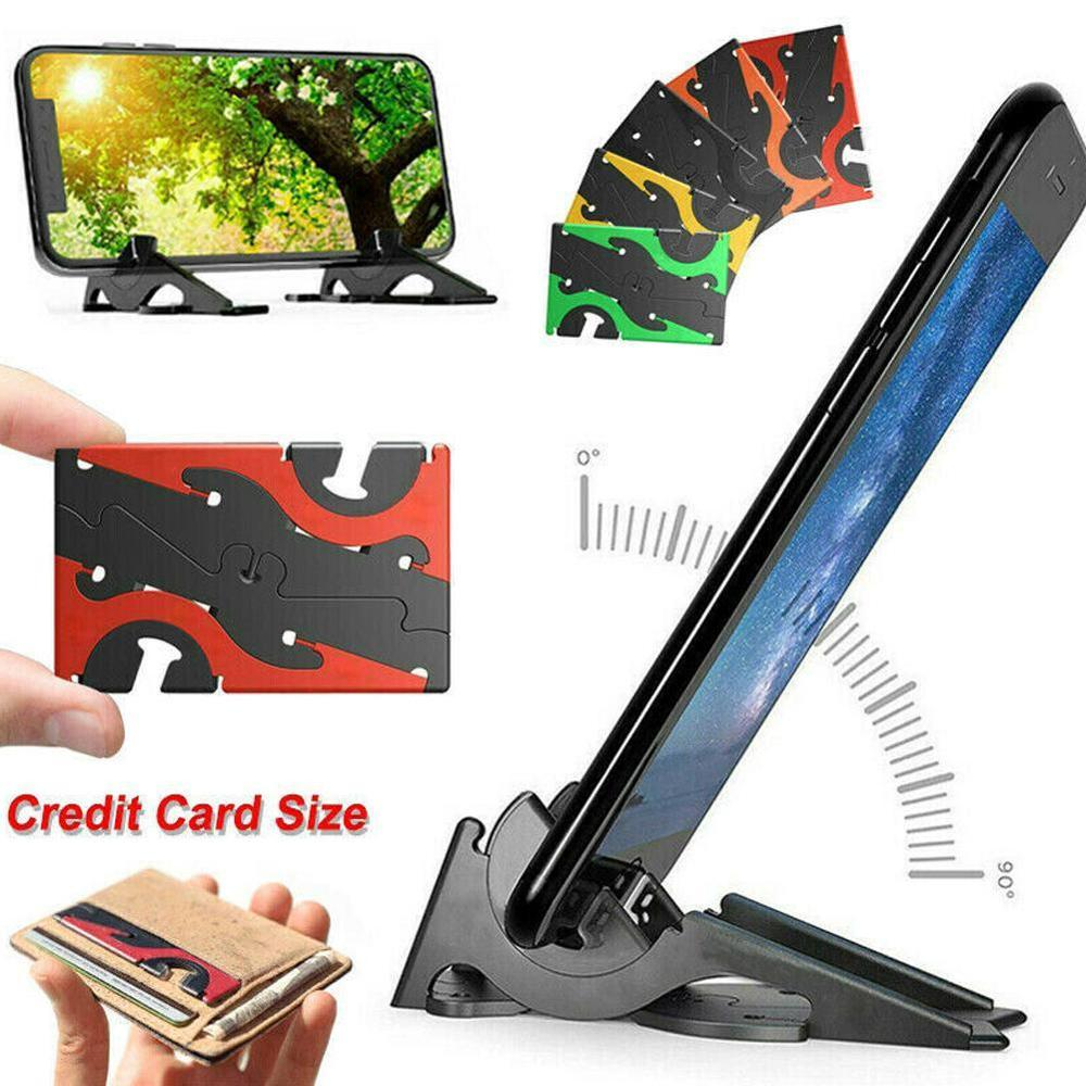 Adjustable Foldable Portable Phone Holder Card Type Universal Pocket Support Convenient Home Tripod Rotation Stable Stand P O9A6