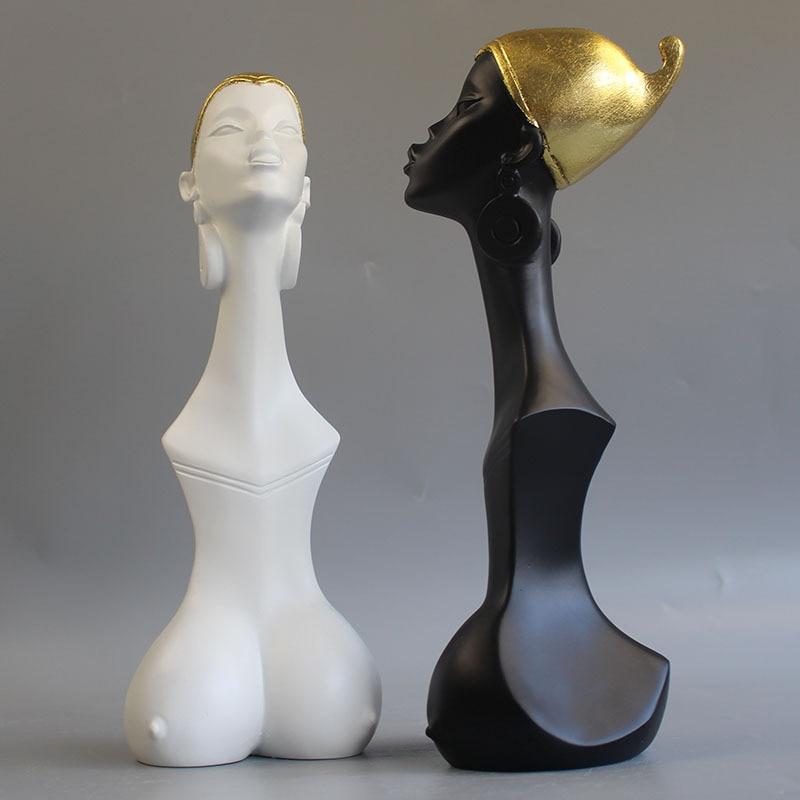 Nordic Style Woman Half-Length Portrait Abstraction Resin Art&Craft Sculpture Creative Clothes Shop Art Decorations X3539
