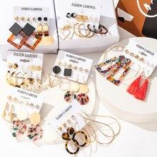 Earrings for Women Set Gold Metal Acrylic Tassel Earrings 2021 Fashion Jewelry Bohemian Leopard Crystal Pearl Hoop Ear Rings