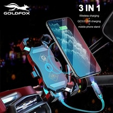 15W Qi Wireless Charger Motorcycle Phone Holder QC3.0 USB Fast Charge Phone Stand Bracket for iPhone 11 pro Xiaomi 9 Redmi Note8