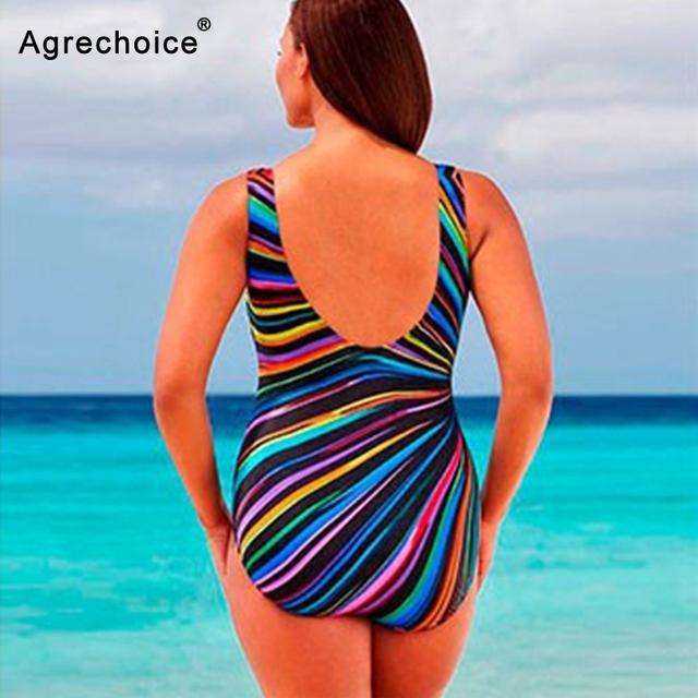 2019 New Striped Print Plus Size Swimwear Women One Piece Swimsuit Large Size Bathing Suits Beach Wear Swimming Suit For Women 1