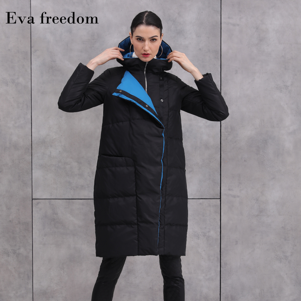 90% duck   down   warm Parkas   coat   winter fashion brand thick warm   down   jacket female hit color design long hooded   down   jacket F329