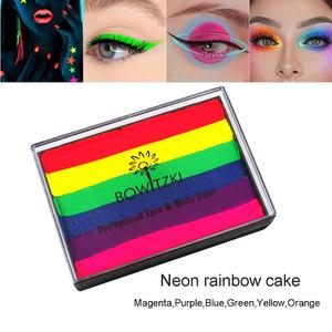 Bowitzki UV Glow Split Cakes Neon Rainbow Water actived eyeliner Face Paints Body Painting Makeup eyeshadow 50g