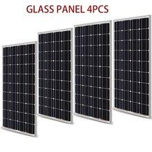 高品質400ワット200ワットガラスソーラーパネル300ワットpvモジュールキット単結晶太陽電池12vソーラーバッテリー充電器rv/ホーム/ボート