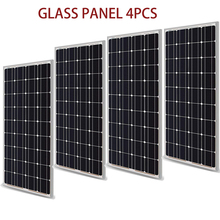 Panel Solar de cristal de 400w y 200w Kit de módulo PV de 300w, célula Solar monocristalina de 12V, cargador de batería Solar para RV/hogar/barco
