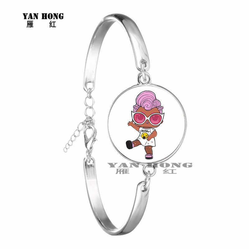 Kreskówka lollipop lalka bransoletka słodkie dziecko flash lalka księżniczka 20mm bransoletka ze szklanych animacji prezent urodzinowy dla dzieci