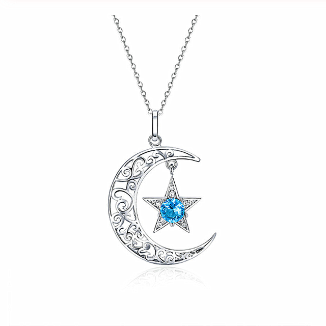 New Romantic 925 Sterling Silver Sparkling Moon And Star Necklaces Pendants for Women Fashion Necklace Jewelry Gift SCN278