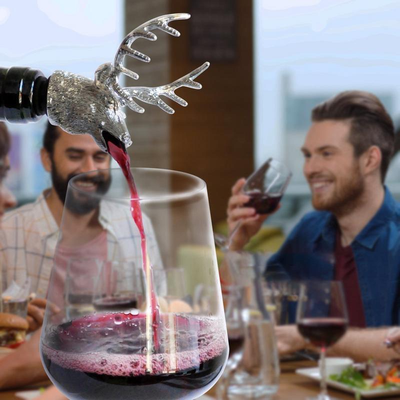 Bouchon de bouteille de vin de cerf, boeuf, lion et chien, tête d'animal en alliage de Zinc bouchon de vin verseur rouge