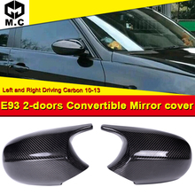 For BMW E93 Convertible Rear Mirror Cover Cap Add on Style M3 Look 100% Vacuumed Dry Carbon Fiber CF 1:1 Replacement 2-Pcs 10-13