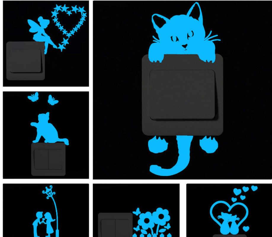 푸른 빛 빛나는 스위치 스티커 만화 벽 스티커 빛나는 벽 스티커 홈 룸 장식 고양이 개 자동차 키스 스티커 장식