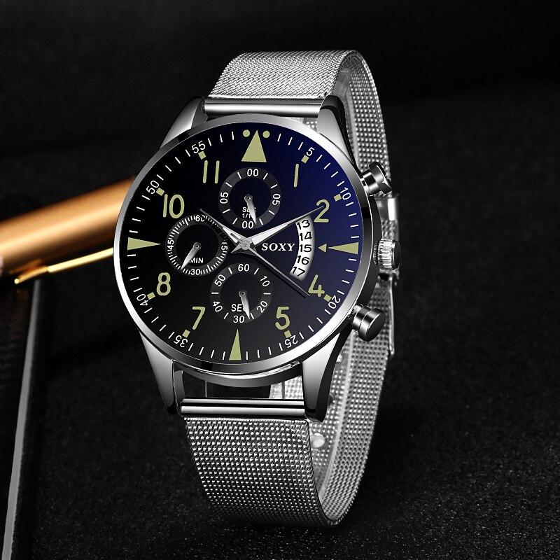 Luxury Quartz Sport Men's Watch Luminous Date Stainless Steel Band Wrist Watch Men Watches Relogio Masculino Clock Montre Homme