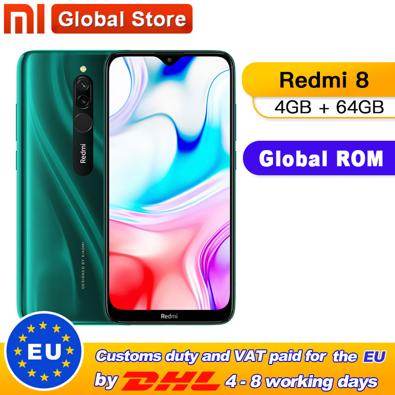 Global Rom Xiaomi Redmi 8 4 GB 64 GB Octa-core Snapdragon 439 Processor 12 MP Dual Camera Smartphone 5000 MAh Redmi 8