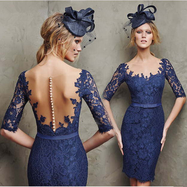See Through Back For Graduation Button Lace Knee-length Lace Short Prom 2018 Fast Shipping Half Sleeve Mother Of The Bride Dress