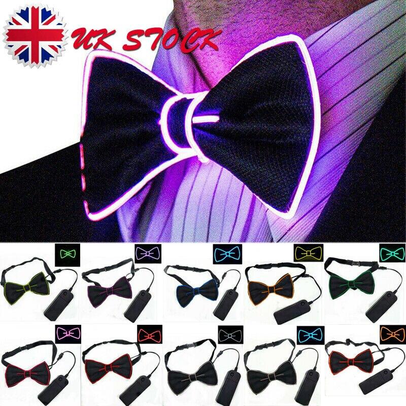 Newest Men LED Wire Necktie Bowtie Flashing Light Up El Wire Bow Tie Necktie LED Mens Lights Bowtie Wedding Glow Party Supplies