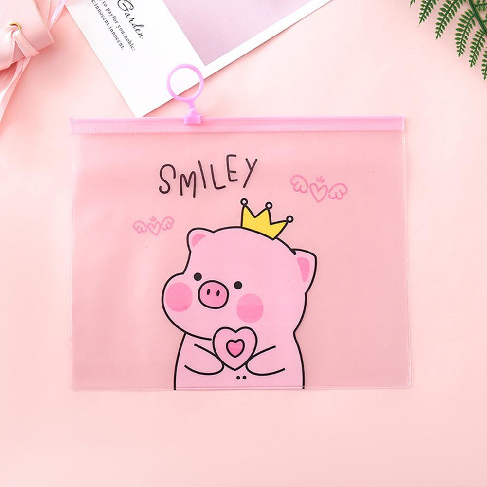 PVC Document Kawaii Bags Cartoon Pig File Folder Pencil Case Stationery Holder Organizer Ring File Bag Pen Paper Contract Bags