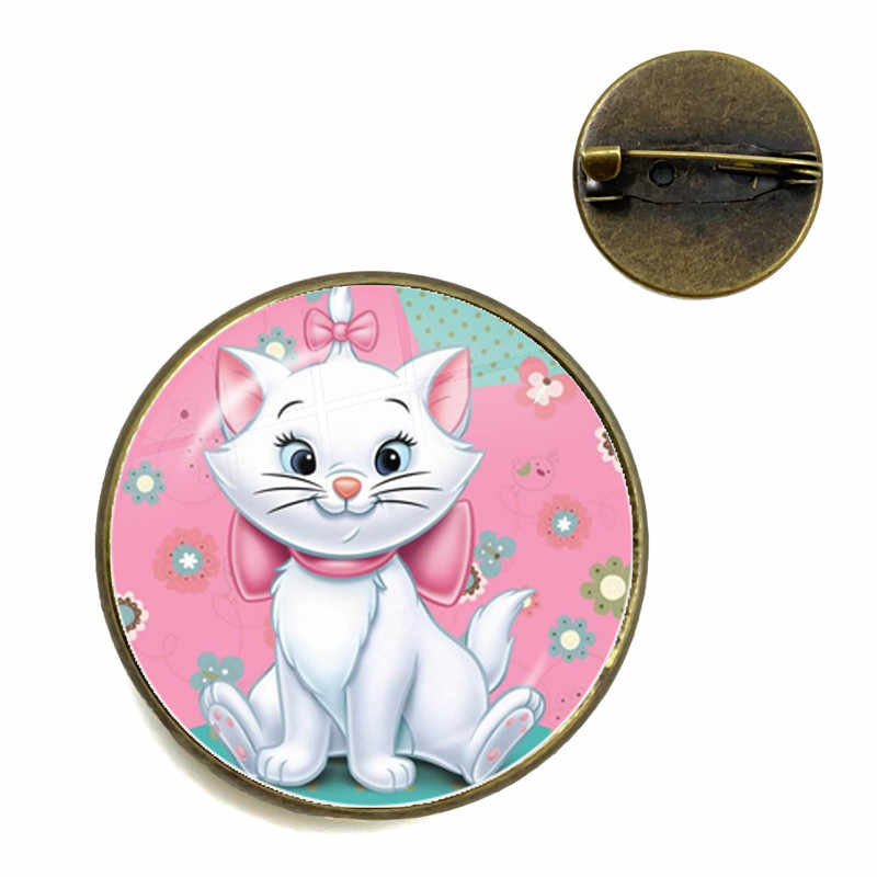 Aristocats Art Cat ภาพการ์ตูน Pins 20 มม.รอบแก้ว Cabochon อะนิเมะการ์ตูนเข็มกลัดเครื่องประดับสำหรับเด็กผู้หญิงของขวัญ