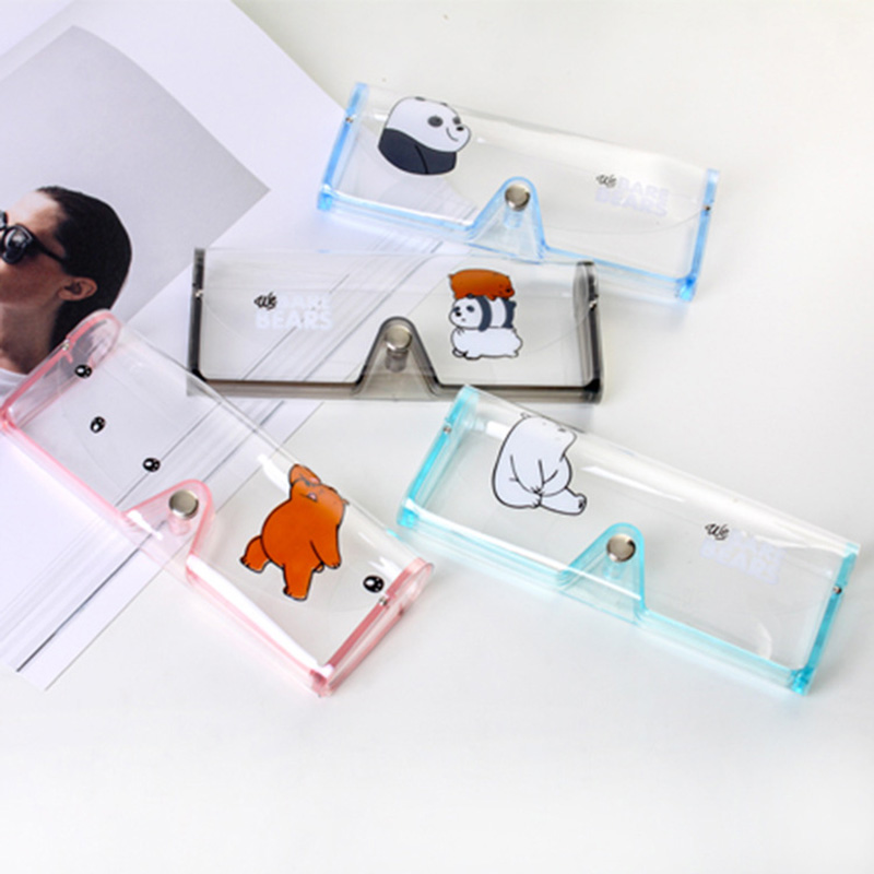 Cute  Cartoon Travel Accessories Transparent PVC Eye Glasses Cosmetic Makeup Earphone Organizer Bag Case
