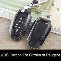 Carbon Fiber Auto schlüssel fall Smart Remote Schlüssel abdeckung shell für Peugeot 3008 4008 5008 Citroen C4 C4L C6 C3 XR zubehör Keychain-in Schlüsseletui für Auto aus Kraftfahrzeuge und Motorräder bei