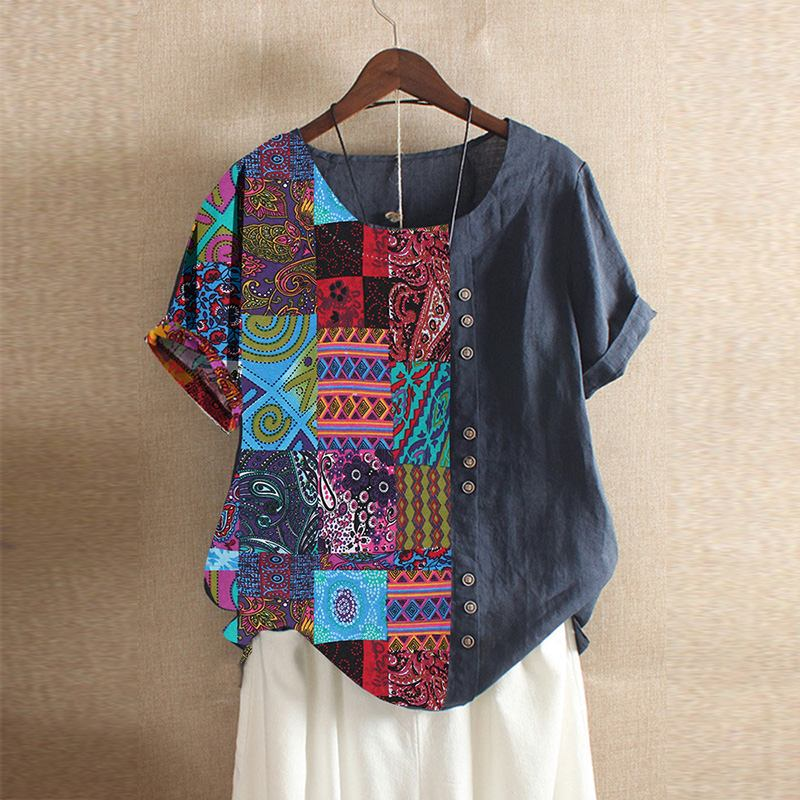 Casual Printed Tops Women's Patchwork Blouse 2019 Vintage Summer Short Sleeve Tee Shirts Female O Neck Blusas Plus Size Tunic