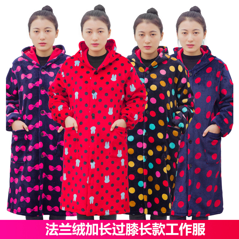 Winter Thin Flannel Overclothes Over-the-Knee X-long Work Clothes Cover-up Down Jacket Adult Men And Women Protective Clothing
